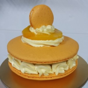 Mango Peach Giant Macaron Cake In Singapore