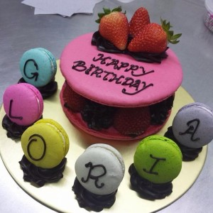 Giant Strawberry Chocolate Macaron Cake with letter macaron